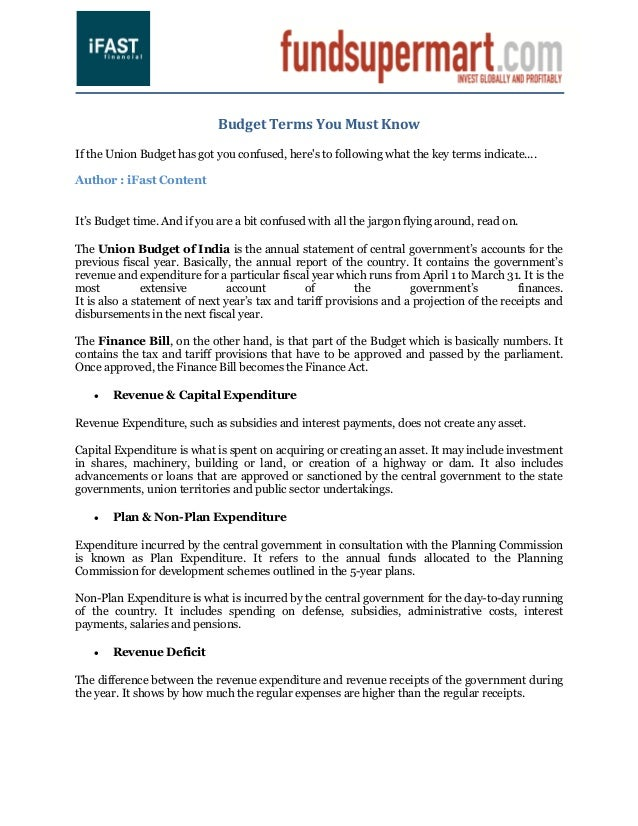 Budget Terms You Must KnowIf the Union Budget has got you confused, heres to following what the key terms indicate....Auth...