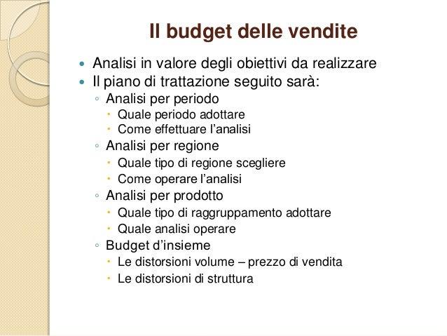 Il budget delle vendite  Analisi in valore degli obiettivi da realizzare  Il piano di trattazione seguito sarà: ◦ Analis...