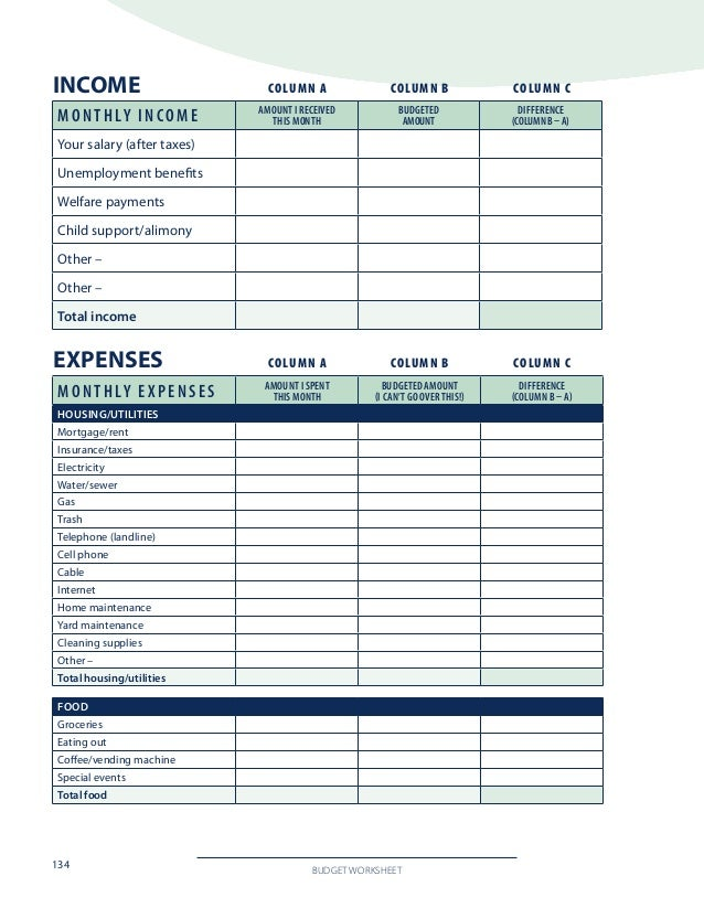 Worksheets Divorce Worksheet divorce financial worksheet finances spreadsheet