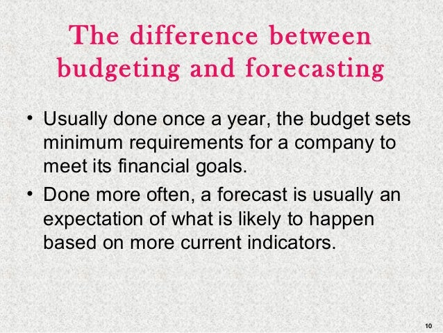 1010 The difference between budgeting and forecasting • Usually done once a year, the budget sets minimum requirements for...