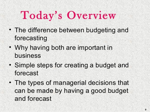 99 Today's Overview • The difference between budgeting and forecasting • Why having both are important in business • Simpl...