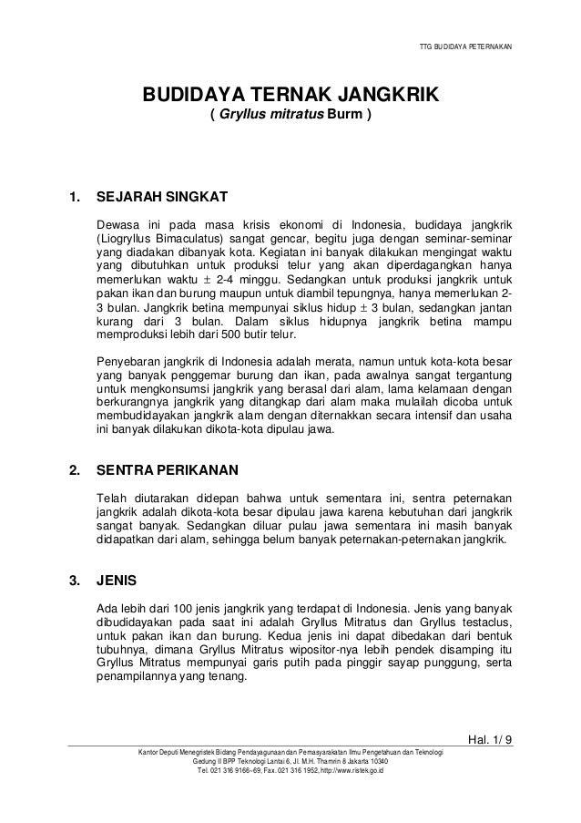 TTG BUDIDAYA PETERNAKAN Hal. 1/ 9 Kantor Deputi Menegristek Bidang Pendayagunaan dan Pemasyarakatan Ilmu Pengetahuan dan T...