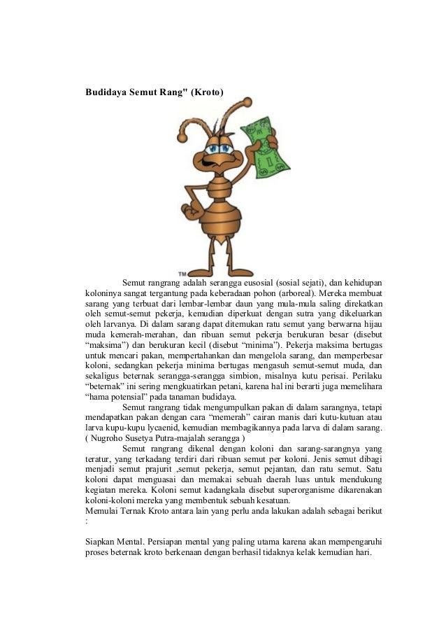 """Budidaya Semut Rang"""" (Kroto)           Semut rangrang adalah serangga eusosial (sosial sejati), dan kehidupankoloninya san..."""