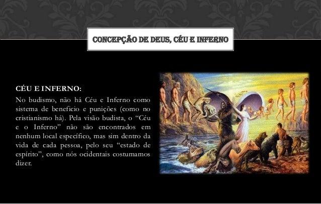 CONCEPÇÃO DE DEUS, CÉU E INFERNOCÉU E INFERNO:No budismo, não há Céu e Inferno comosistema de beneficio e punições (como n...