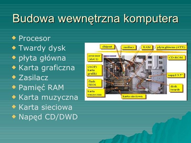 Budowa wewnętrzna komputera <ul><li>Procesor </li></ul><ul><li>Twardy dysk </li></ul><ul><li>płyta główna </li></ul><ul><l...