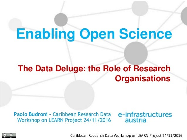 Caribbean Research Data Workshop on LEARN Project 24/11/2016 The Data Deluge: the Role of Research Organisations Enabling ...