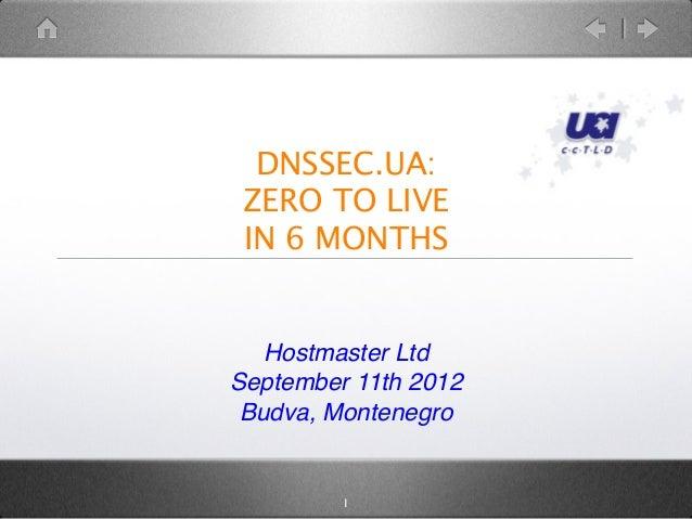 DNSSEC.UA:ZERO TO LIVEIN 6 MONTHSHostmaster LtdSeptember 11th 2012Budva, Montenegro1