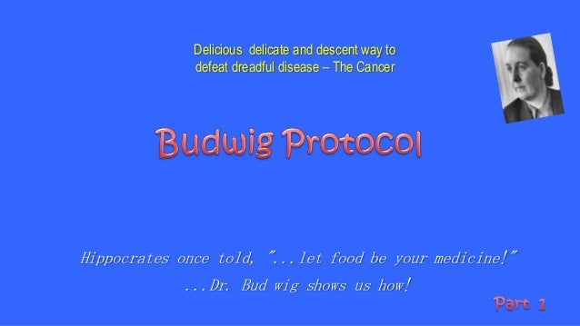 """Hippocrates once told, """"...let food be your medicine!""""...Dr. Bud wig shows us how!Delicious delicate and descent way todef..."""