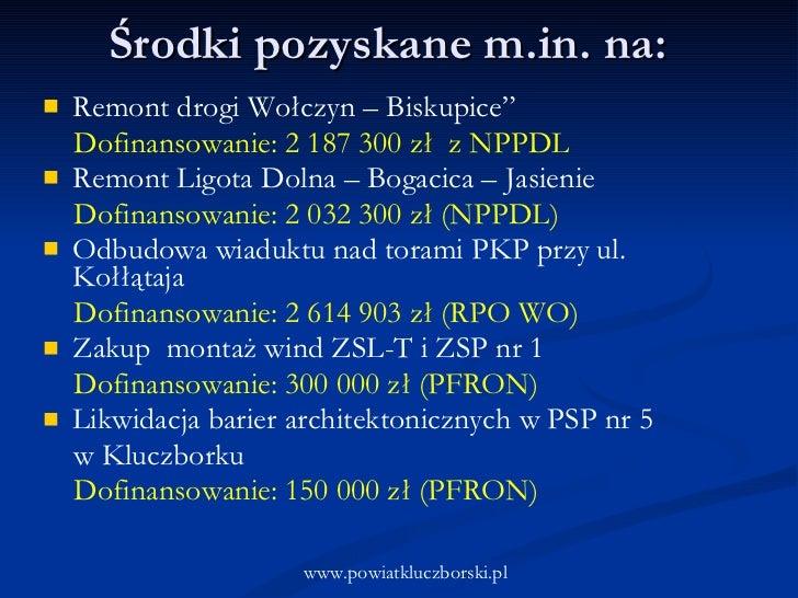 "<ul><li>Remont drogi Wołczyn – Biskupice""  </li></ul><ul><li>Dofinansowanie: 2 187 300 zł  z NPPDL </li></ul><ul><li>Remon..."