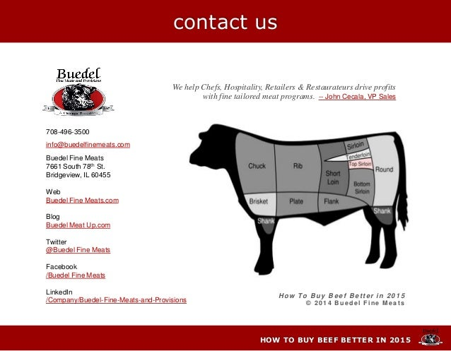 H ow To B uy B e e f B e tter in 2 0 1 5 © 2 0 1 4 Bue de l Fine Me a t s 708-496-3500 info@buedelfinemeats.com Buedel Fin...