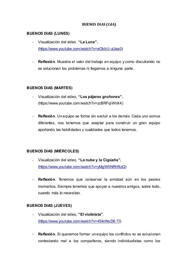"""BUENOS DIAS (CdA) BUENOS DIAS (LUNES) - Visualización del video """"La Luna"""". (https://www.youtube.com/watch?v=eObbU-uUaa0) -..."""