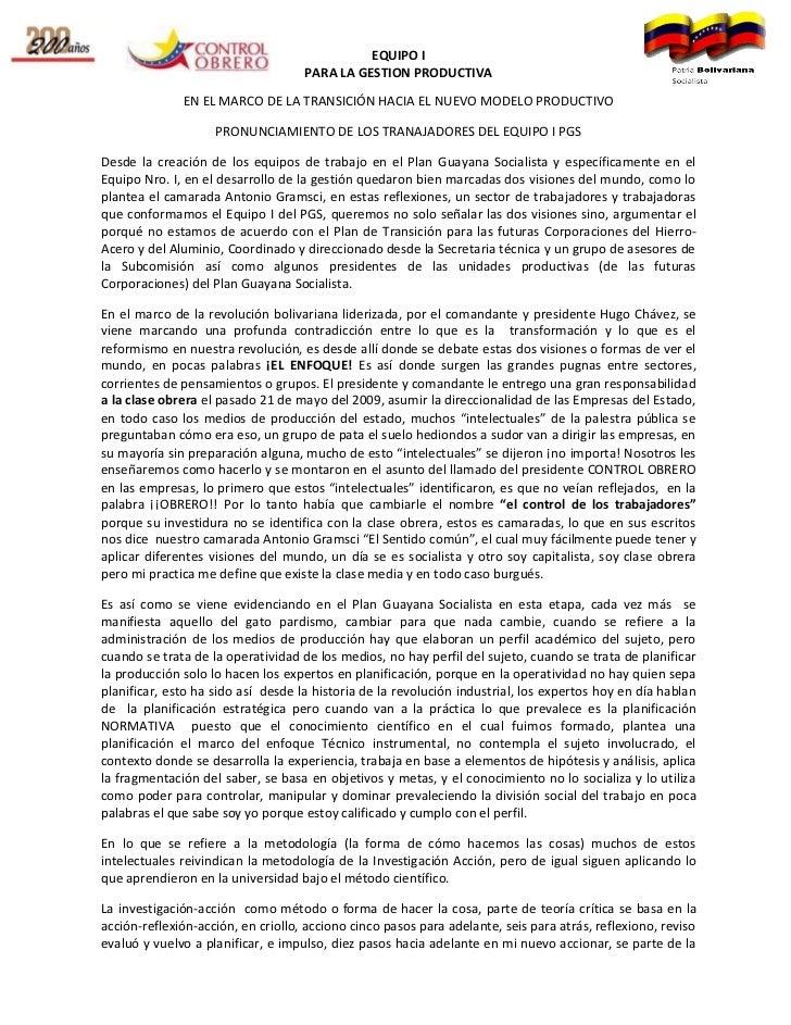 EQUIPO I                                    PARA LA GESTION PRODUCTIVA              EN EL MARCO DE LA TRANSICIÓN HACIA EL ...