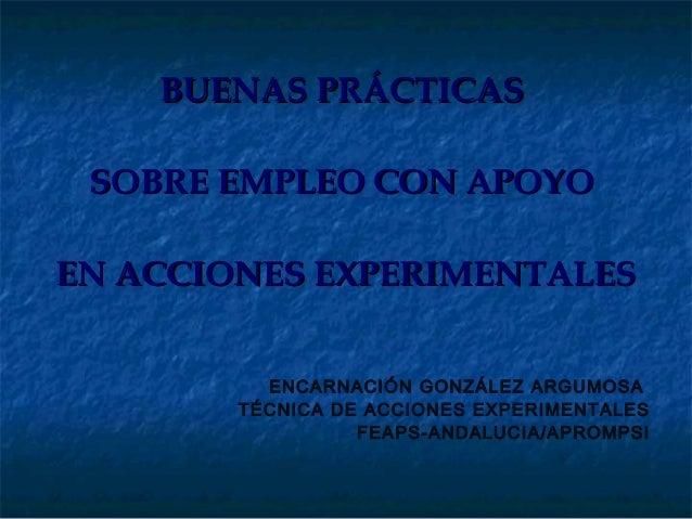 BUENAS PRÁCTICAS SOBRE EMPLEO CON APOYOEN ACCIONES EXPERIMENTALES          ENCARNACIÓN GONZÁLEZ ARGUMOSA        TÉCNICA DE...