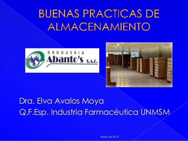 Dra. Elva Avalos MoyaQ.F.Esp. Industria Farmacéutica UNMSMMayo de 2013