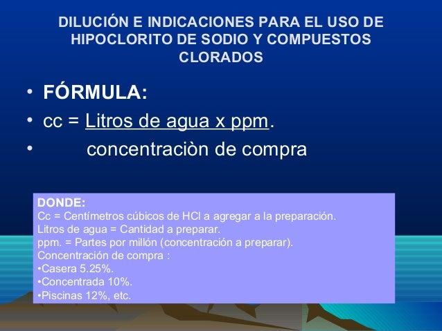 Buenas practicas en desinfeccion for Hipoclorito de sodio para piscinas