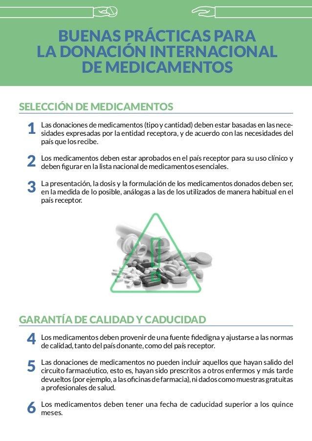 BUENAS PRÁCTICAS PARA LA DONACIÓN INTERNACIONAL DE MEDICAMENTOS SELECCIÓN DE MEDICAMENTOS Lasdonacionesdemedicamentos(tipo...