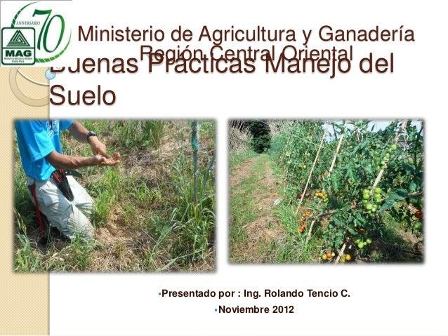 Ministerio de Agricultura y Ganadería         Región Central OrientalBuenas Prácticas Manejo delSuelo          Presentado...