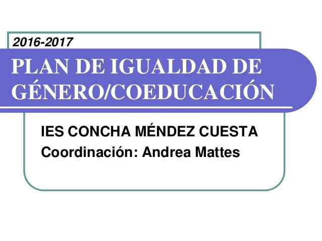 PLAN DE IGUALDAD DE GÉNERO/COEDUCACIÓN IES CONCHA MÉNDEZ CUESTA Coordinación: Andrea Mattes 2016-2017