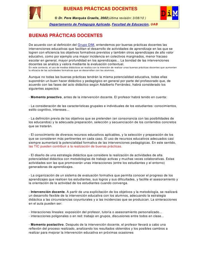 BUENAS PRÁCTICAS DOCENTES                      © Dr. Pere Marquès Graells, 2002(última revisión: 3/08/10 )                ...