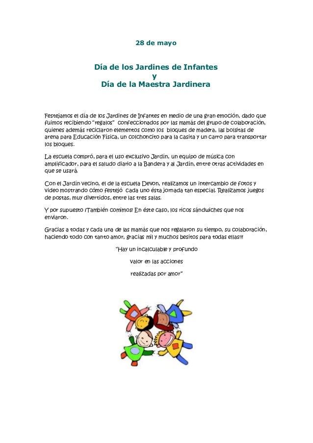 Dia de los jardines de infantes y de la maestra jardinera for Cancion para saludar al jardin de infantes