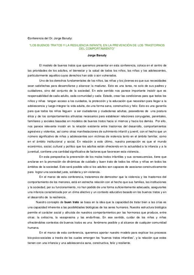 """Conferencia del Dr. Jorge Barudy: """"LOS BUENOS TRATOS Y LA RESILIENCIA INFANTIL EN LA PREVENCIÓN DE LOS TRASTORNOS DEL COMP..."""