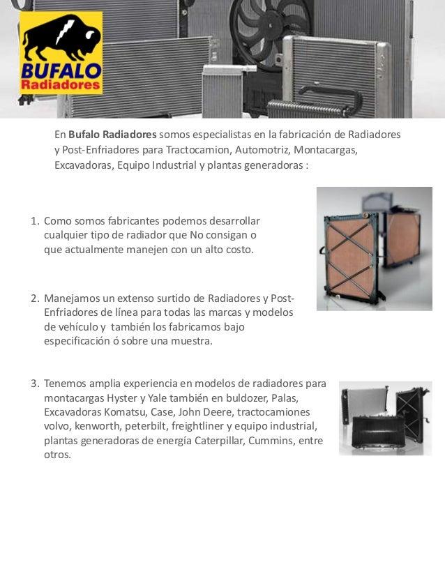 Bufalo radiadores fabricante de radiadores brochure for Fabricacion radiadores