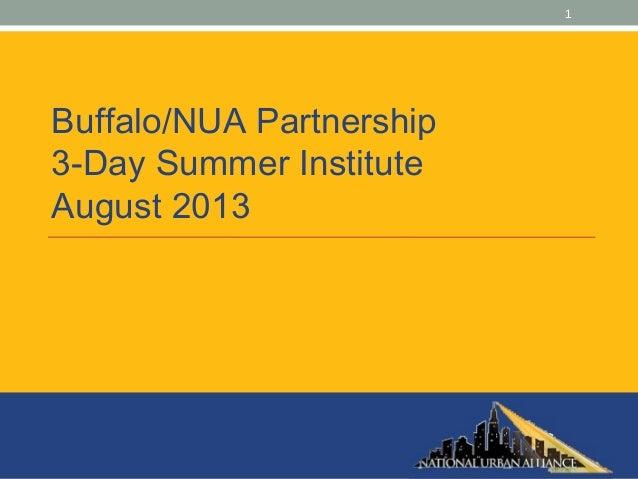 1 Buffalo/NUA Partnership 3-Day Summer Institute August 2013