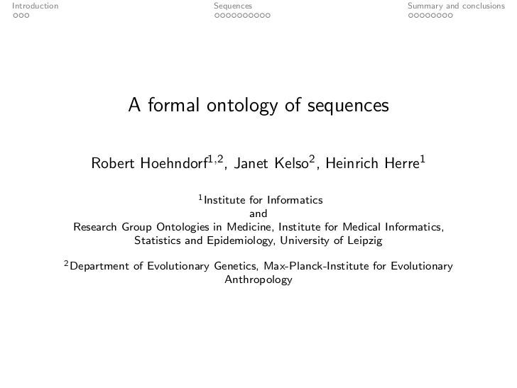Introduction                                 Sequences                              Summary and conclusions               ...