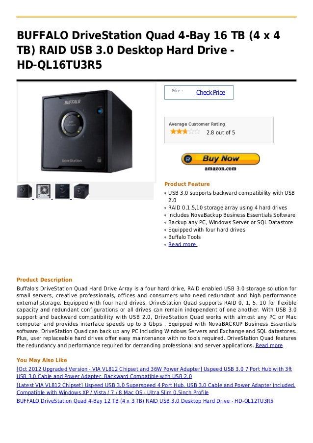 BUFFALO DriveStation Quad 4-Bay 16 TB (4 x 4TB) RAID USB 3.0 Desktop Hard Drive -HD-QL16TU3R5                             ...