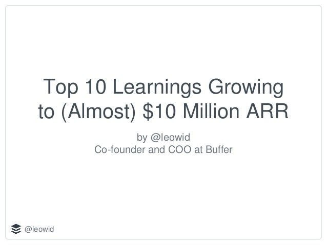 @leowid Top 10 Learnings Growing to (Almost) $10 Million ARR by @leowid Co-founder and COO at Buffer