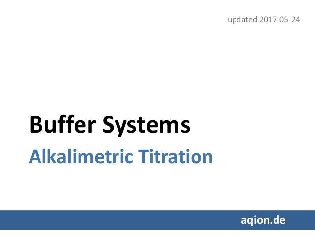 Buffer Systems Alkalimetric Titration aqion.de updated 2017-05-24