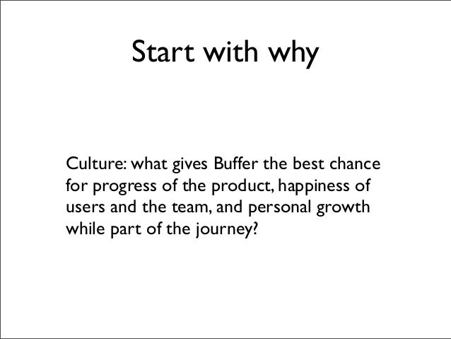 Start with whyCulture: what gives Buffer the best chancefor progress of the product, happiness ofusers and the team, and p...