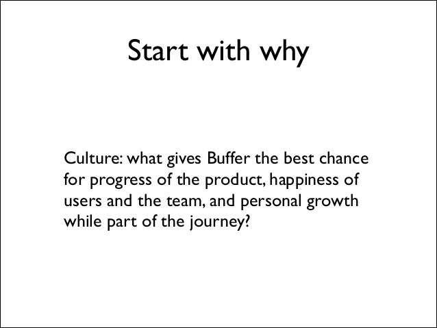 Start with why  Culture: what gives Buffer the best chance for progress of the product, happiness of users and the team, a...