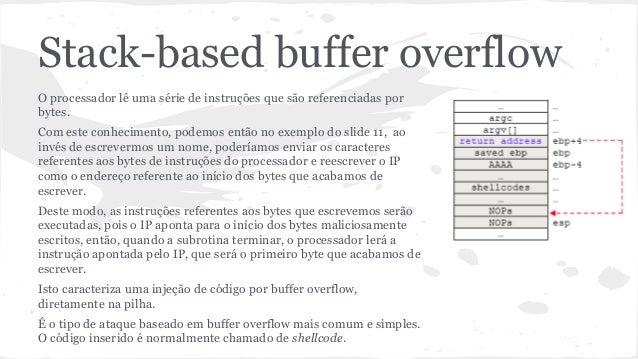 Stack-based buffer overflow  O processador lê uma série de instruções que são referenciadas por  bytes.  Com este conhecim...