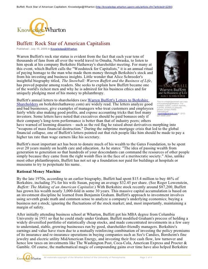 Buffett: Rock Star of American Capitalism: Knowledge@Wharton (http://knowledge.wharton.upenn.edu/article.cfm?articleid=228...