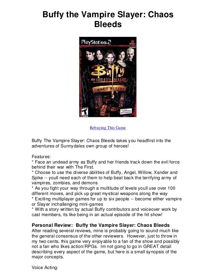 Buffy the Vampire Slayer: Chaos                  Bleeds                                 Rebuying This Game   Buffy The Vam...
