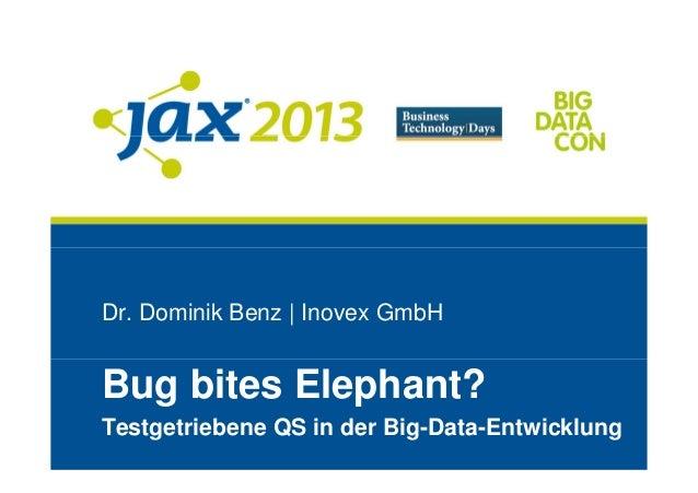 Dr. Dominik Benz | Inovex GmbHBug bites Elephant?Testgetriebene QS in der Big-Data-Entwicklung