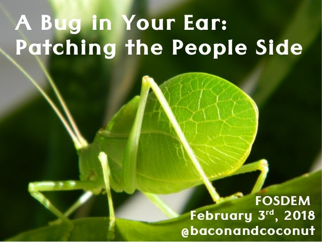 A Bug in Your Ear: Patching the People Side FOSDEM February 3rd , 2018 @baconandcoconut