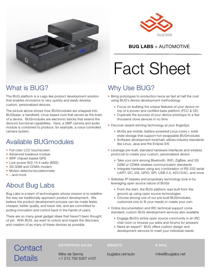 BUG LABS + AUTOMOTIVE                                                                           Fact Sheet What is BUG?   ...