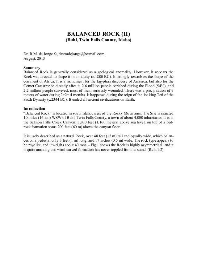 BALANCED ROCK (II) (Buhl, Twin Falls County, Idaho) Dr. R.M. de Jonge ©, drsrmdejonge@hotmail.com August, 2013 Summary Bal...