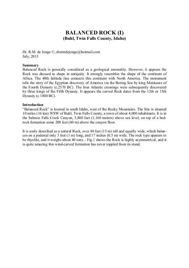 BALANCED ROCK (I) (Buhl, Twin Falls County, Idaho) Dr. R.M. de Jonge ©, drsrmdejonge@hotmail.com July, 2013 Summary Balanc...