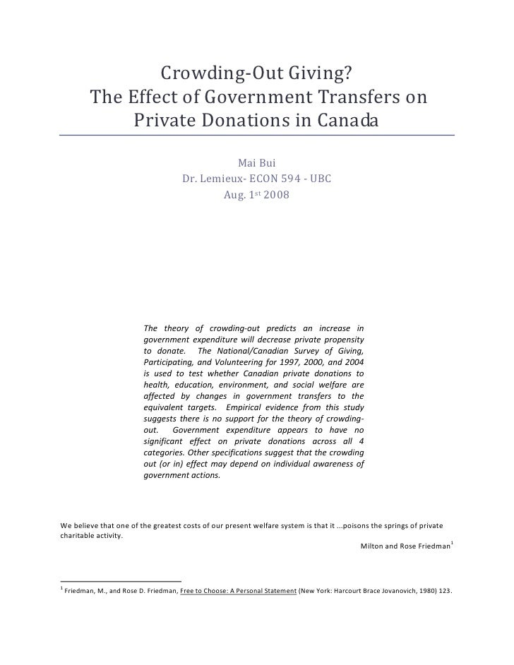 Crowding-Out Giving?            The Effect of Government Transfers on                 Private Donations in Canada         ...