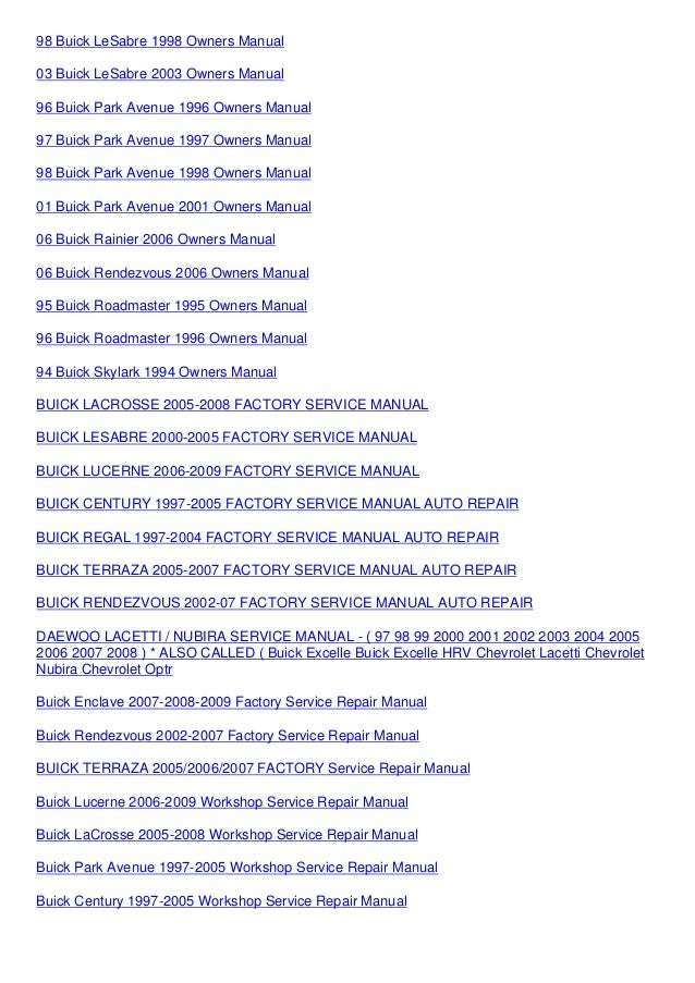 buick enclave 2008 2009 2010 factory service repair manual rh slideshare net 2007 Buick Lucerne CX 2007 buick lucerne repair manual