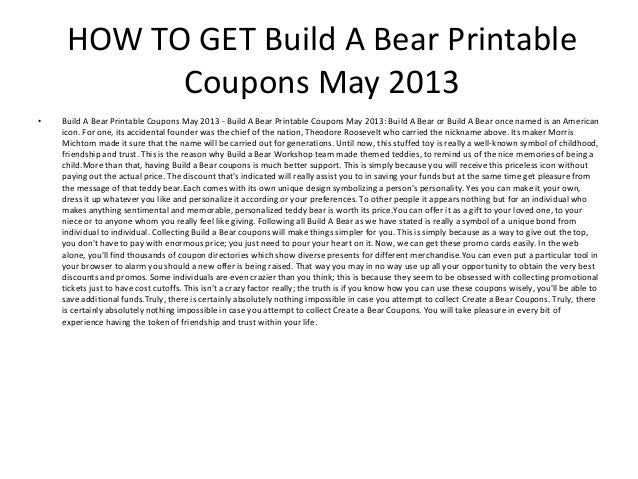 graphic about Build a Bear Printable Coupons referred to as Produce A Go through Printable Discount codes May perhaps 2013 - Create A Undertake