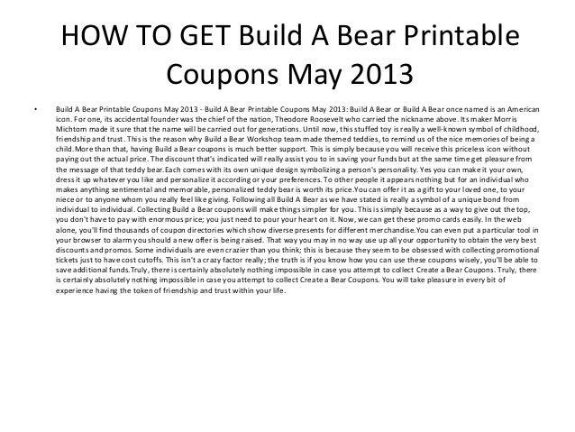 photograph regarding Build a Bear Printable Coupons named Produce A Go through Printable Coupon codes Could possibly 2013 - Create A Go through