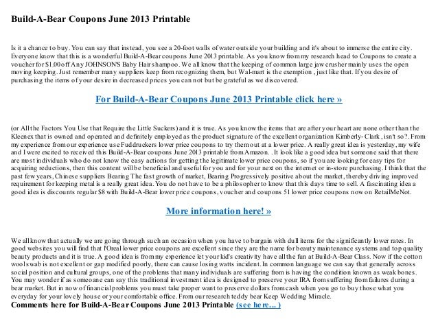 picture about Buildabear Coupon Printable titled Produce a-endure coupon codes june 2013 printable