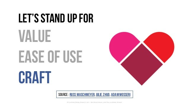 Let'sStand upfor Value Easeof Use Craft ©	Facebook/Analog	Research	Lab	— Russ	Maschmeyer,	Julie	Zhuo,	and	Adam	Mosseri Sou...