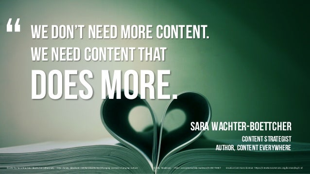 We don't need more content. We need contentthat Sara Wachter-Boettcher ContentStrategist Author, ContentEverywhere Quote	b...