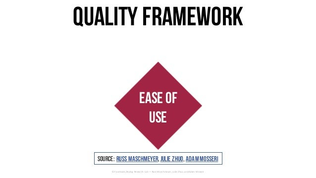 Ease of Use CraftValue Quality framework ©	Facebook/Analog	Research	Lab	— Russ	Maschmeyer,	Julie	Zhuo,	and	Adam	Mosseri So...