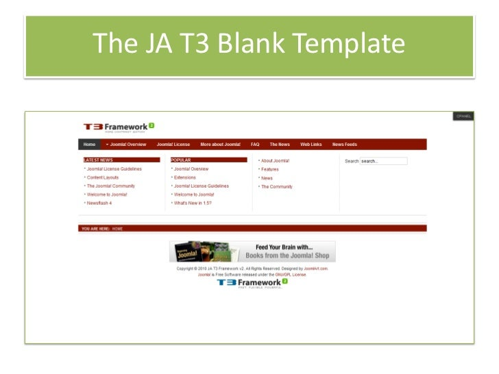 Build joomla template with ja t3 framwork 2 0 for Joomla empty template